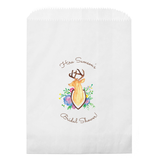 Floral Deer Photo/Full Color Party Bag | ForYourParty's personalized Kraft Brown Photo/Full Color Party Bag with Matte Chocolate Ink Digital Print Colors will make your guests swoon. Personalize your party's theme today.