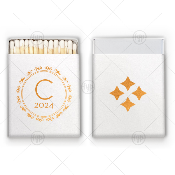 Circle Diamond Match | Personalized Stardream Crystal White Riviera Matchbox with Shiny Copper Foil has a Diamond Wreath graphic and is good for use in Aztec, Indie themed parties and will give your party the personalized touch every host desires.