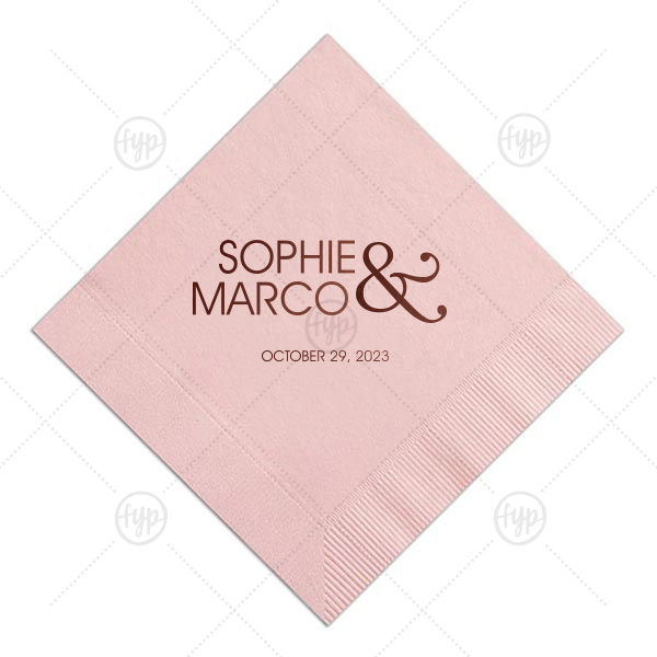 Modern Ampersand Wedding Napkin | For Your Party's personalized Pastel Yellow Cocktail Napkin with Matte Slate Gray Foil will add that special attention to detail that cannot be overlooked.