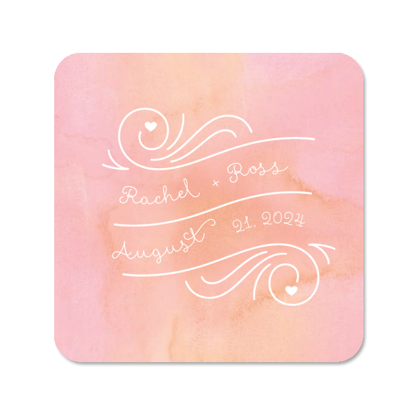Personalized Watercolor Rosé Photo/Full Color Square Coaster with Matte White Ink Digital Print Colors has a Heart Wave Frame graphic and is good for use in water themed parties and will make your guests swoon. Personalize your party's theme today.