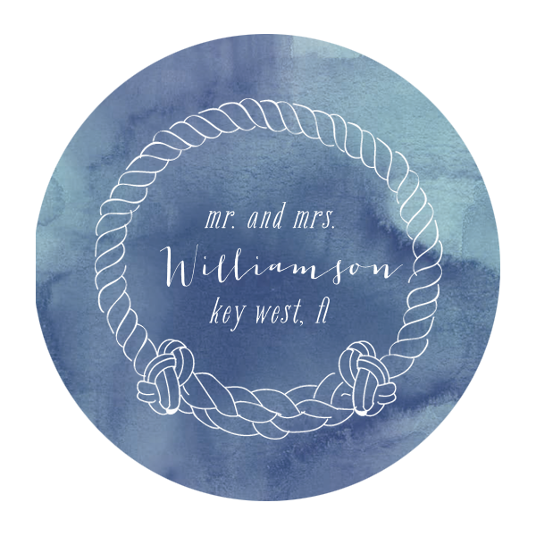 Nautical Rope Frame Photo/Full Color Coaster | ForYourParty's elegant Blue Watercolor Photo/Full Color Coaster with Matte White Ink Digital Print Colors has a Rope Frame graphic and is good for use in Nautical themed parties and will add that special attention to detail that cannot be overlooked.