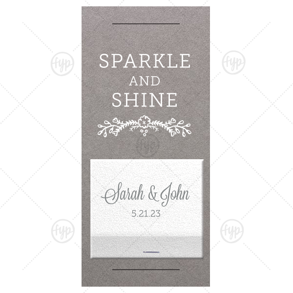 Sparkle And Shine Sparkler Sleeve with Match | Our custom Natural Slate Large Sparkler Sleeve with Shimmer 30 Strike with Matte White Foil and Matte Slate Gray Foil has a Marigold Vine graphic and is good for use in Accents, Floral, Bridal Shower themed parties and can be customized to complement every last detail of your party.