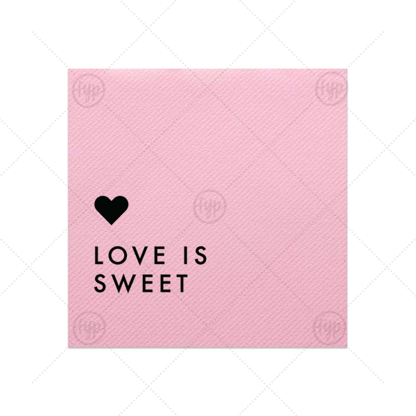 This Pink Cocktail Napkin with Matte Black Foil has a Love Is Sweet graphic designed by Martha Stewart Weddings for your the dessert bar at your bridal shower, engagement party or wedding reception. It's time to show off your impeccable taste!