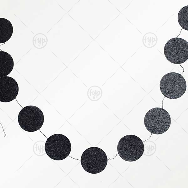 Black Glitter Mini Circle Banner | For Your Party's Black Glitter Mini Circle Banner is a great match your party's exact theme and tempo.