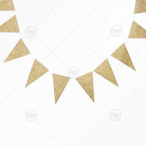 Gold Glitter Mini Pennant Banner | Our Gold Glitter Mini Pennant Banner will impress guests like no other. Make this party unforgettable.