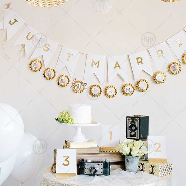 Our Fancy Just Married Banner is a must-have for your next event—whatever the celebration!