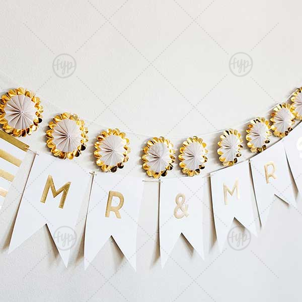 Fancy Mr and Mrs Letter Banner | Our Fancy Mr. & Mrs. Letter Banner will impress guests like no other. Make this party unforgettable.