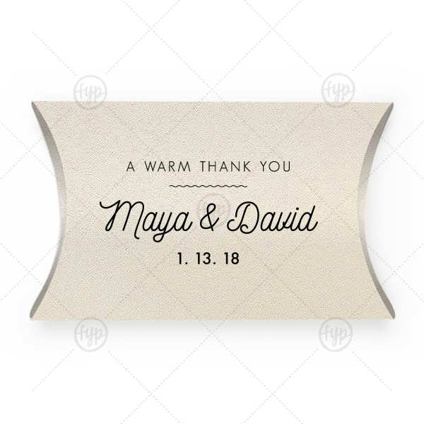 Martha Stewart Thank You Box | Our personalized Stardream Ivory Pillow Box with Matte Black Foil has a Warm Thanks graphic and is good for use in Wedding, Words, Anniversary themed parties and will make your guests swoon. Personalize your party's theme today.