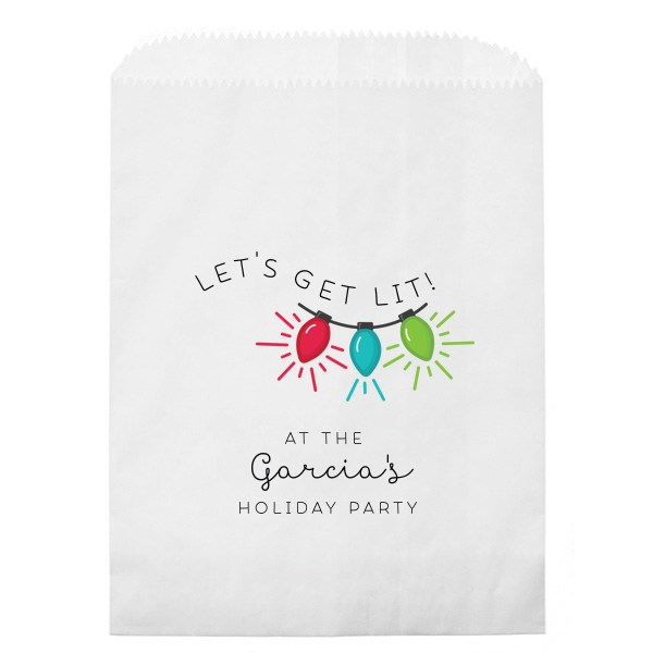 Get Lit Holiday Photo/Full Color Party Bag | ForYourParty's elegant White Photo/Full Color Party Bag with Matte Black Ink Digital Print Colors will impress guests like no other. Make this party unforgettable.