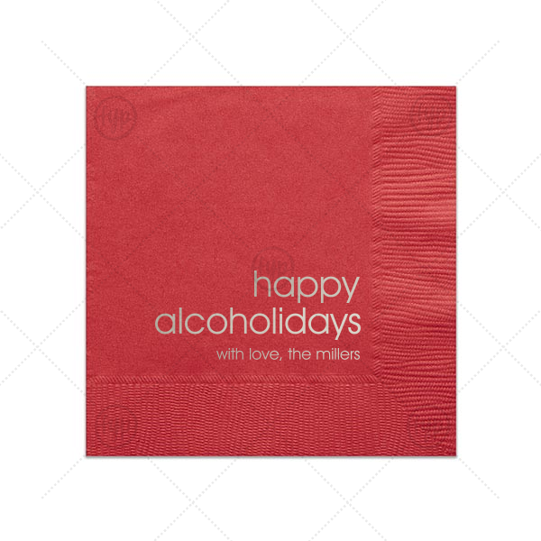 Happy Alcoholidays Holiday Napkin | Personalized Lipstick Red Cocktail Napkin with Shiny Sterling Silver Foil can be personalized to match your party's exact theme and tempo.