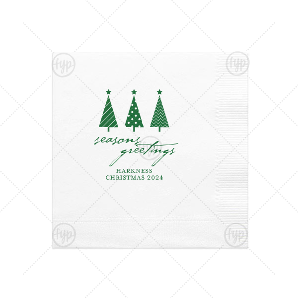 Seasons Greetings Christmas Tree Napkin | The ever-popular White Cocktail Napkin with Satin Leaf Foil has a 3 Trees graphic and is good for use in Christmas themed parties and couldn't be more perfect. It's time to show off your impeccable taste.