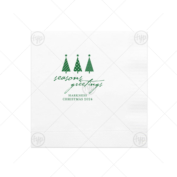 Seasons Greetings Christmas Tree Napkin