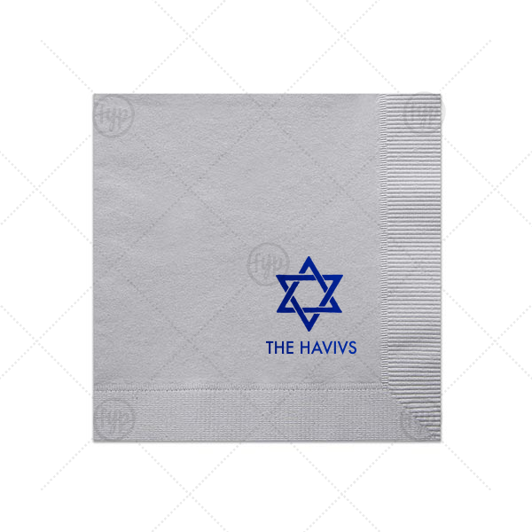 Hanukkah Napkin   The ever-popular Dove Gray Cocktail Napkin with Shiny Sky Blue Foil has a Star 1 graphic and is good for use in Stars, Jewish Symbols themed parties and are a must-have for your next event—whatever the celebration!