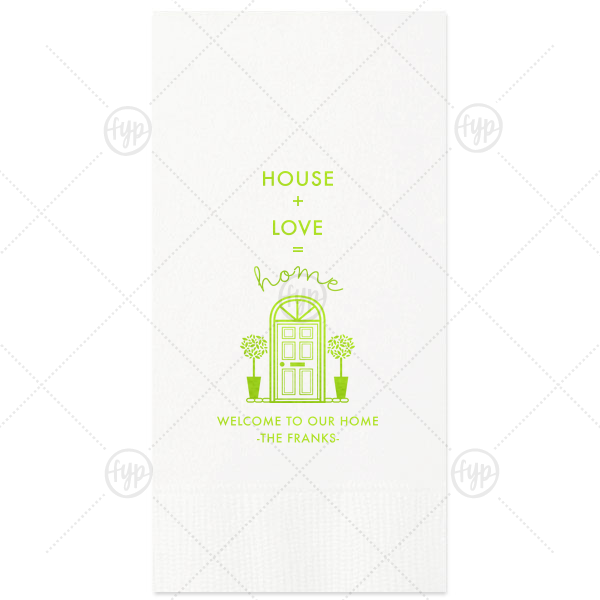 House Plus Love Napkin | The ever-popular Pistachio Guest Towel with Shiny Kiwi / Lime Foil has a Door graphic and is good for use in Home themed parties and will impress guests like no other. Make this party unforgettable.