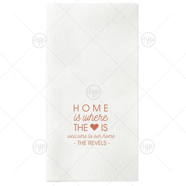 Our beautiful custom White Guest Towel with Satin Copper Penny Foil has a Solid Heart graphic and is good for use in Wedding, Hearts, Anniversary, Home themed parties and can't be beat. Showcase your style in every detail of your party's theme!