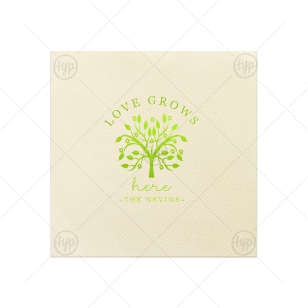 Love Grows Here Napkin | ForYourParty's chic Ivory Linen Like Cocktail Napkin with Shiny Kiwi / Lime Foil has a Tree of Life graphic and is good for use in Floral, Wedding, Garden themed parties and couldn't be more perfect. It's time to show off your impeccable taste.