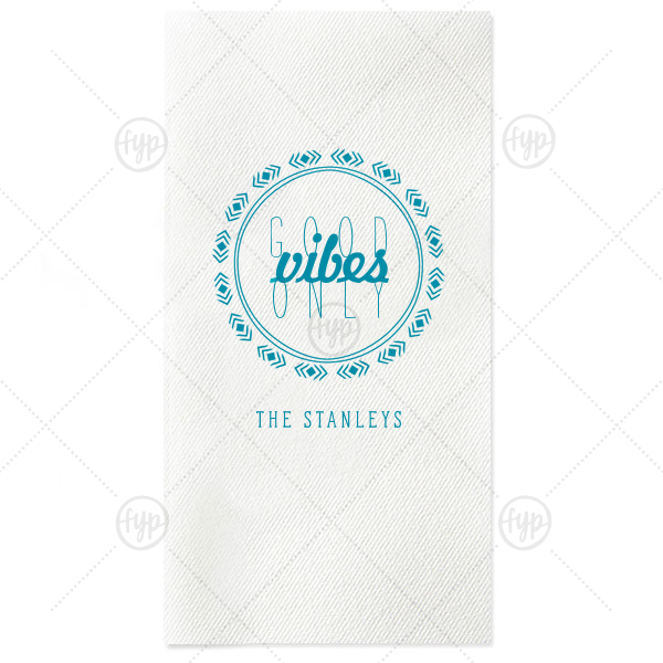 Our beautiful custom White Guest Towel with Satin Teal / Peacock Foil has a Diamond Wreath graphic and is good for use in Frames, Aztec, Wedding themed parties and can be customized to complement every last detail of your party.