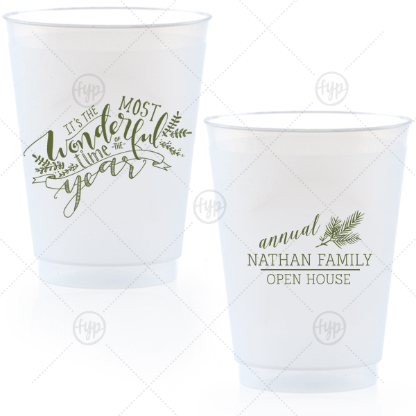 Most Wonderful Time Cup | Our custom Matte Army Green Ink 16 oz Frost Flex Cup with Matte Army Green Ink Cup Ink Colors has a The Most Wonderful Time graphic and a Pine graphic and is good for use in Holiday and Christmas themed parties and will add that special attention to detail that cannot be overlooked.