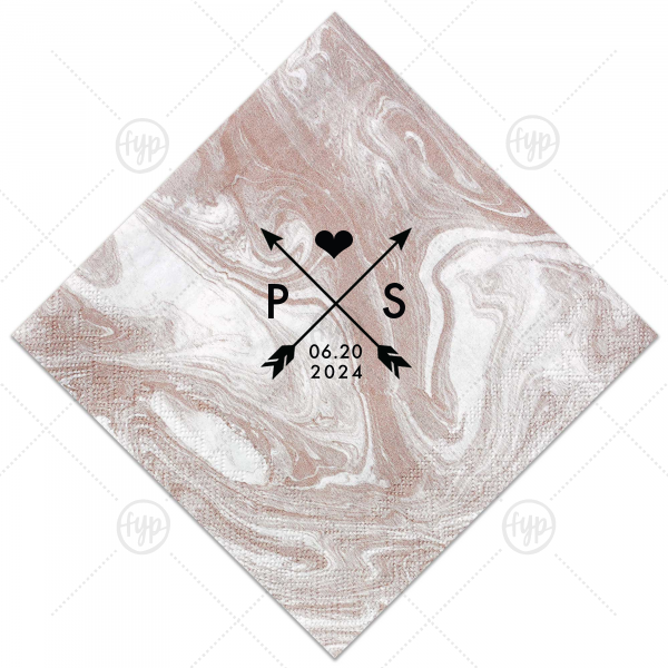 Arrow Initials Napkin  | Our beautiful custom Marble Taupe Cocktail Napkin with Matte Black Foil has a Cross Arrows 1 graphic and is good for use in Accents, Frames themed parties and will give your party the personalized touch every host desires.
