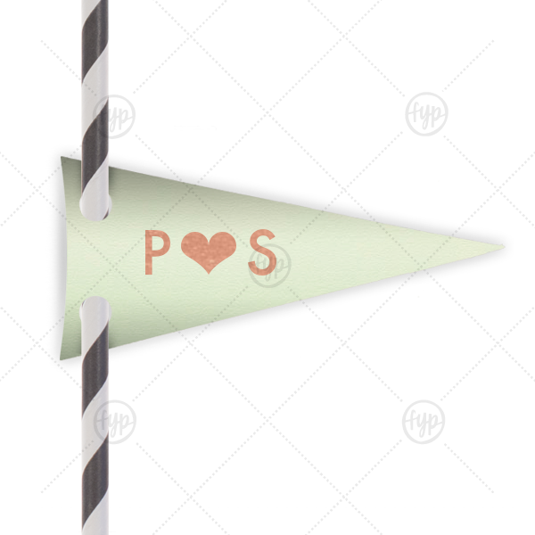 Heart Initials Straw Tag | Personalized Poptone Mint Pennant Straw Tag with Shiny Rose Gold Foil will add that special attention to detail that cannot be overlooked.