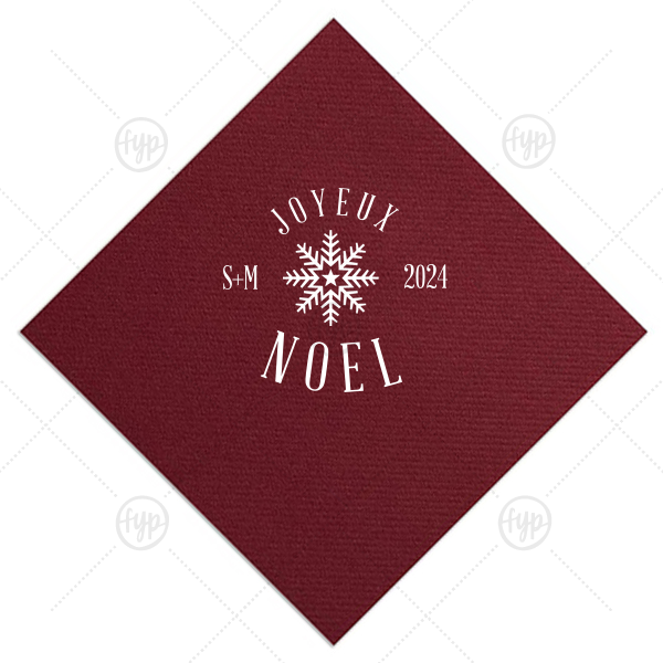 Joyeux Noel Snowflake Napkin | Our beautiful custom Merlot Cocktail Napkin with Matte White Foil has a Snowflake 3 graphic and is good for use in Christmas themed parties and couldn't be more perfect. It's time to show off your impeccable taste.