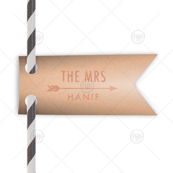 The Mrs Arrow Straw Tag   ForYourParty's elegant Stardream Rose Gold Double Point Straw Tag with Shiny Rose Gold Foil has a Arrow 1 graphic and is good for use in Accents, Frames, Wedding themed parties and will add that special attention to detail that cannot be overlooked.
