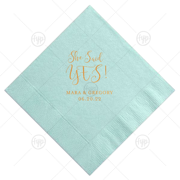 Personalized Aqua Cocktail Napkin with Satin Copper Penny Foil will look fabulous with your unique touch. Your guests will agree!