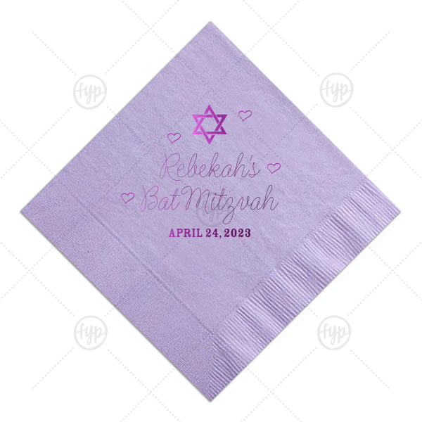 Hearts Bat Mitzvah Napkin | ForYourParty's personalized Lavender Cocktail Napkin with Shiny Amethyst Foil has a Star 1 graphic and is good for use in Stars, Jewish Symbols themed parties and can't be beat. Showcase your style in every detail of your party's theme!