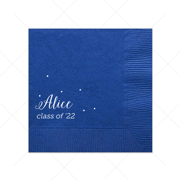 The ever-popular Royal Blue Cocktail Napkin with Matte White Foil will impress guests like no other. Make this party unforgettable.