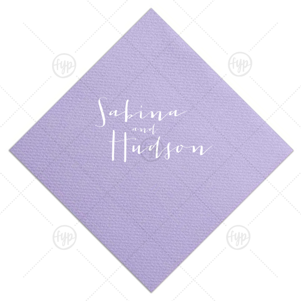 Our personalized Amethyst Cocktail Napkin with Satin Sterling Silver Foil can be customized to complement every last detail of your party.