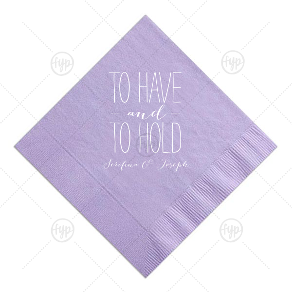 To Have and to Hold Napkin | ForYourParty's chic Lavender Cocktail Napkin with Matte White Foil can't be beat. Showcase your style in every detail of your party's theme!