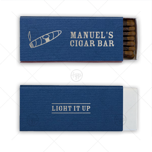 Cigar Bar Match | Personalized Linen Navy Blue Cigar Matchbox with Shiny Sterling Silver Foil has a Cigar graphic and is good for use in Father's Day, Retirement, Birthday themed parties and will add that special attention to detail that cannot be overlooked.