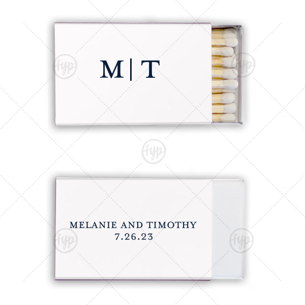 Simple Initials Match | For YourParty's elegant Stardream Sky Blue Classic Matchbox with Matte Slate Gray Foil will add that special attention to detail that cannot be overlooked.