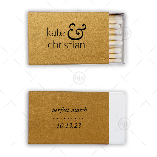 Sweet Ampersand Wedding Match | ForYourParty's personalized Stardream Old Gold Classic Matchbox with Matte Black Foil will make your guests swoon. Personalize your party's theme today.