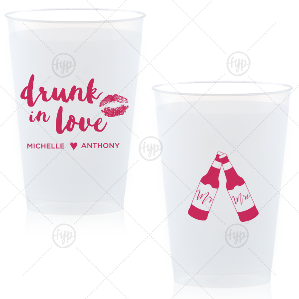 Drunk in Love Cup | Dress up your drinks with this trendy hand lettered font at your bachelorette weekend or casual wedding reception bar. Custom cups also double as fantastic personalized party favors!