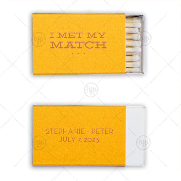 Met my Match Modern | Personalized Poptone Sunflower Classic Matchbox with Satin Copper Penny Foil will look fabulous with your unique touch. Your guests will agree!