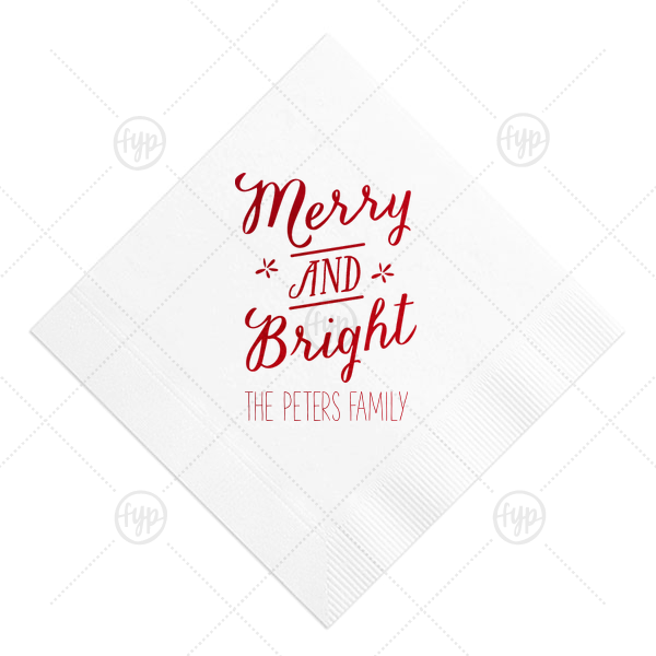 Merry And Bright Napkin | Our personalized White Cocktail Napkin with Shiny Convertible Red Foil has a Merry and Bright graphic and is good for use in Christmas, Holiday, Star themed parties and will impress guests like no other. Make this party unforgettable.