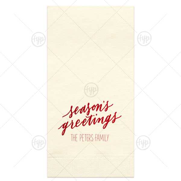 Custom Ivory Guest Towel with Shiny Convertible Red Foil has a Season's Greetings graphic and is good for use in Holiday, Christmas themed parties and can be customized to complement every last detail of your party.