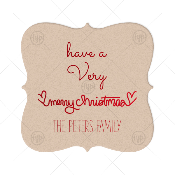 Merry Christmas Heart Coaster | The ever-popular Kraft with Blush back Nouveau Coaster with Shiny Convertible Red Foil has a Merry Christmas Hearts graphic and is good for use in Christmas, Warm-Hearted themed parties and can be personalized to match your party's exact theme and tempo.