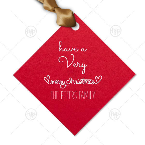 Merry Christmas Heart Tag | Our custom Poptone Convertible Red Diamond Gift Tag with Matte White Foil has a Merry Christmas Hearts graphic and is good for use in Christmas, Warm-Hearted themed parties and can be personalized to match your party's exact theme and tempo.