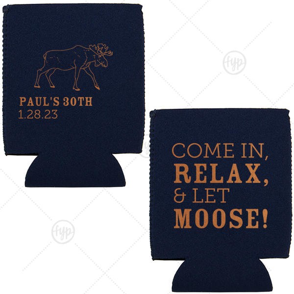 Our custom Navy Flat Can Cooler with Copper Ink has a Moose graphic and is good for use in Animal, Travel, Outdoors themed parties and will make your guests swoon. Personalize your party's theme today.