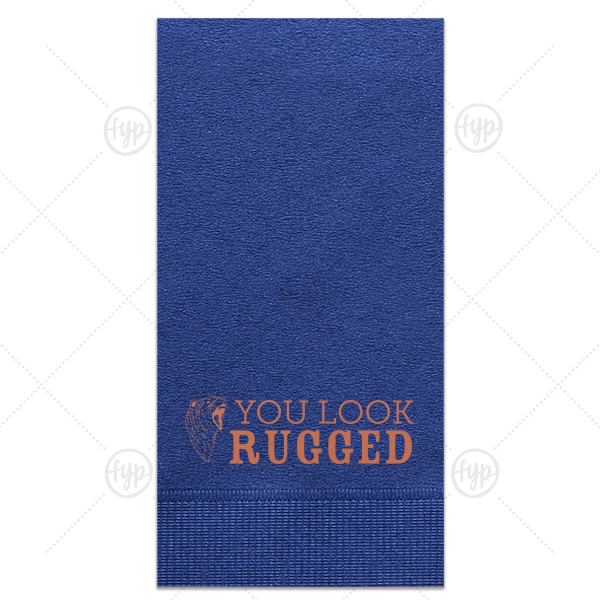 You Look Rugged Napkin | ForYourParty's personalized Light Navy Guest Towel with Satin Copper Penny Foil has a Bear Head graphic and is good for use in Animals, Travel, Southwestern themed parties and will add that special attention to detail that cannot be overlooked.