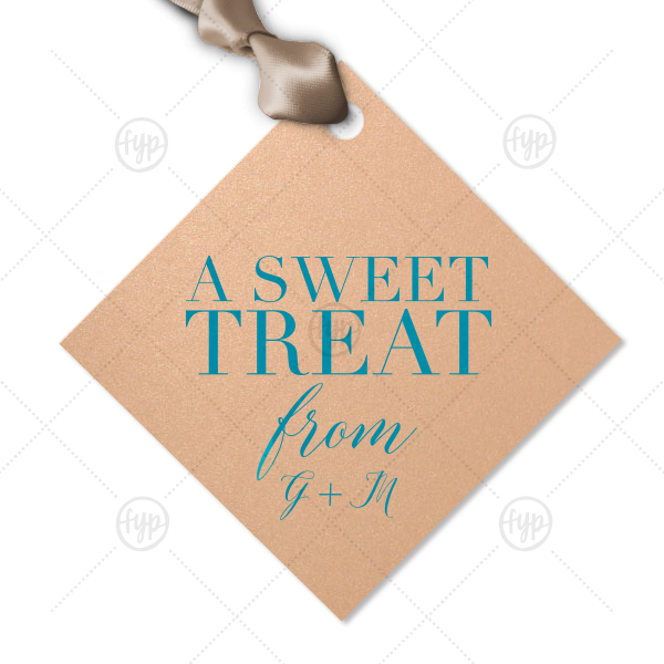 Elegant Sweet Treat Gift Tag | Our custom Stardream Rose Gold Diamond Gift Tag with Satin Teal / Peacock Foil will make your guests swoon. Personalize your party's theme today.