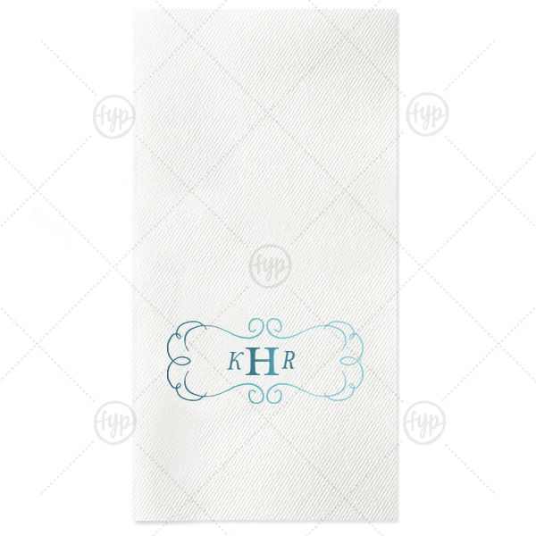 Ornate Frame Initial Napkin | The ever-popular White Guest Towel with Shiny Turquoise Foil has a Ornate Frame graphic and is good for use in Elegant themed parties and will give your party the personalized touch every host desires.