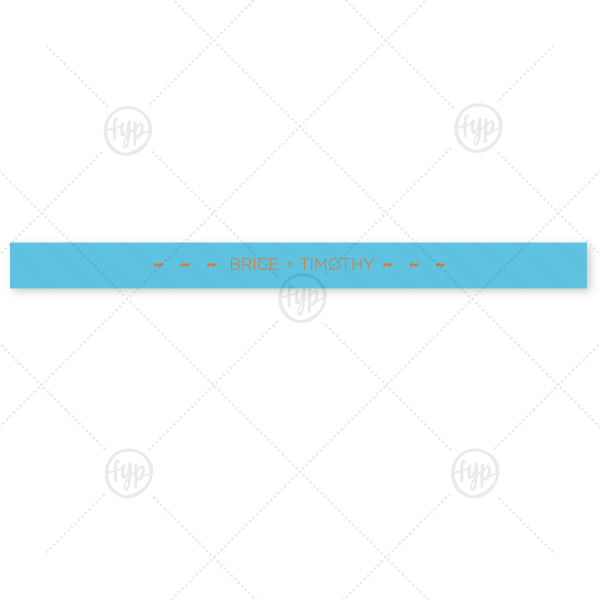 "Our beautiful custom Turquoise 5/8"" Satin Ribbon with Matte Tangerine Foil are a must-have for your next event—whatever the celebration!"