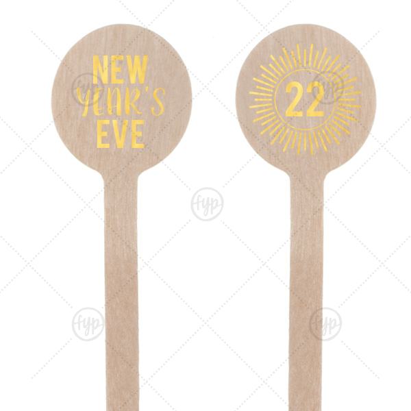 NYE Burst Stir Stick | ForYourParty's personalized Shiny 18 Kt Gold Round Stir Stick with Shiny 18 Kt Gold Foil has a sunburst frame 1 graphic and is good for use in Celebration themed parties and are a must-have for your next event—whatever the celebration!
