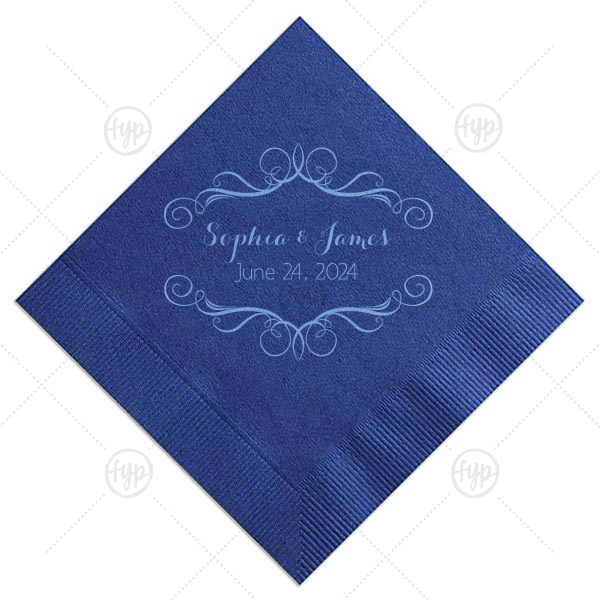 Baroque Frame Napkin | Add the perfect touch to your wedding bar with this elegant personalized cocktail napkin. Foil stamp your names and wedding date within the script frame for a lovely, traditional detail.