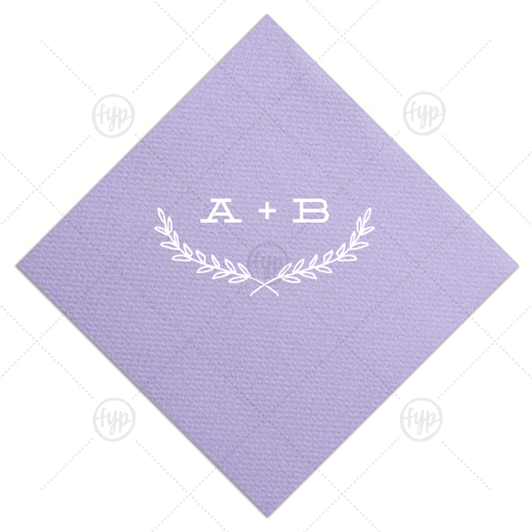 Half Leaf Branch Napkin | Personalize this Plum napkin with Champagne foil color for an elegant fall look perfect for your bridal shower, engagement party or wedding. Our Half Leaf Branch graphic gives just the right trendy touch to accent your initials!