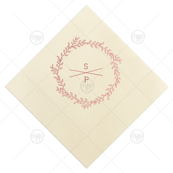 Custom Ivory Cocktail Napkin with Shiny Rose Quartz Foil has a Rustic Wreath graphic and is good for use in Frames, Wedding, Anniversary themed parties and will look fabulous with your unique touch. Your guests will agree!