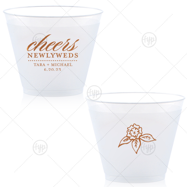 Cheers Newlyweds Cup | Make toasts in style with these custom cups featuring the newlyweds and their wedding date. With a script and serif font combination and beautiful Copper foil, they can also double as fantastic personalized party favors!
